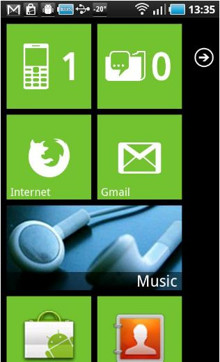Интерфейс Windows Phone для Android:  Launcher 7