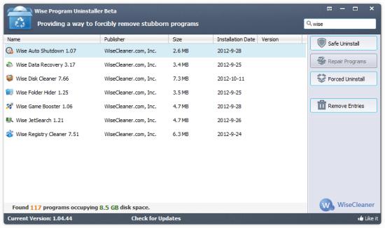 Полное удаление программ: Wise Program Uninstaller 1.98.107